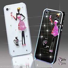NEW 3D DELUX COOL BLING PINK GIRL FLOWER DIAMANTE CASE FOR VARIOUS MOBILE PHONES
