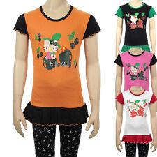Filles Hello Kitty paillettes T-Shirt Top Enfants Coton froncée T shirts Âge 2 4 6 8