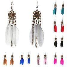 Feder Ohrringe Earring Boho Vintage Ohrhänger Indianer Look in 8 Farben