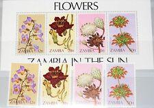 Zambia zambia 1983 290-93 bloque 12 280-83a local Flowers autóctona de flores mnh