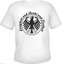 T-Shirt - Einigkeit und Recht und Freiheit - WEISS - fussball deutschland wm em
