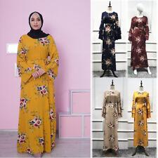 Abaya Women Muslim Maxi Dress Floral Vintage Cocktail Party Kaftan Islamic Gown