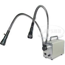 Dual Gooseneck Cool Fiber Optic Lights 30W 50W LED Lamp Microscope Illuminator A