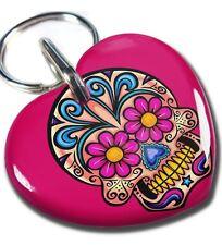 Sugar Skull Sweetheart Hot Pink dog cat charm custom pet tag by ID4PET
