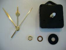 QUARTZ CLOCK MOVEMENT LONG SPINDLE. 65mm GOLD HANDS