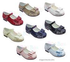 Girls Spanish Style Patent Bow Mary Jane Flat Shoes UK Size 4(EU20)-2(EU34)