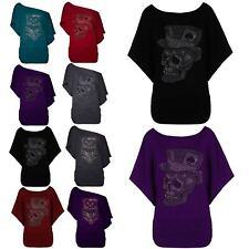 Womens Owl Skull One Off Shoulder Bardot Fine Knitted Batwing Sleeve Jumper Top