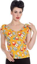 Hell Bunny SOMERSET Keyhole Vintage Apfelblüten 50s SHIRT Bluse Rockabilly Safra