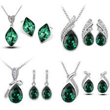 Neu Weihnachten Smaragd Grün Schmuck Halskette Ohrringe Set