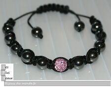Bracelet STYLE SHAMBALLA ROSE  hématite Boule DISCO & macramé NEUF