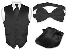 Men's BLACK Dress Vest NeckTie Bow Tie and Hanky Set for Suit or Tuxedo
