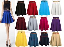 Ladies Girls Skirts Women's Belted Flared Plain Mini Skater Skirt Plus size 8-22