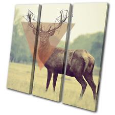 Stag Geometric Abstract Animals TREBLE DOEK WALL ART foto afdrukken