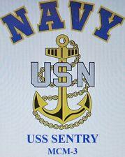 USS SENTRY  MCM-3* MINE COUNTERMEASURES* U.S NAVY W/ ANCHOR* SHIRT