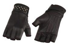Milwaukee Leather Women's Black Leather Fingerless Gloves with Rivet Detailing