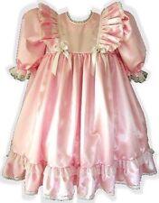 """Elizabeth"" Custom Fit Pink Satin Empire Waist Adult Baby LG Sissy Dress LEANNE"