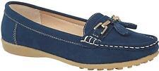 Boulevard JAMIE Ladies Genuine Suede Slip On Tassle Moccasin Loafers Navy Blue