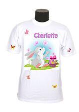 tee shirt enfant petit lapin pâques personnalisé prénom réf 97