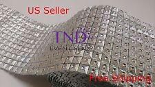 "3.75""x1-10 YARDS DIAMOND SQUARE MESH WRAP ROLL CRYSTAL RHINESTONE SPARKLE RIBBON"