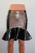 Shiny black pvc mini skirt with leopard  print panel
