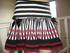 Nouveau noir, rouge, blanc rayures, dentelle, pirates frilly Mini Jupe, Punk, Rock toutes tailles