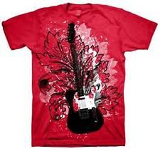 Guitar Floral Cardinal Red Adult T-Shirt