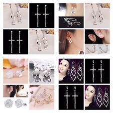Silver Earrings Rhinestone Diamanté Long Earring Cuff Drop Stud Hook Ear Crystal