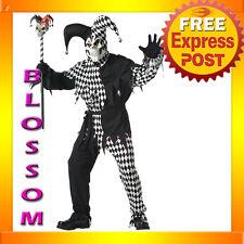 C64 Mardi Gras Black White Evil Jester Costume M L XL