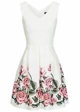 50% OFF B18027046 Damen Violet Kleid kurz geblümt mit Brustpads & Zipper weiß