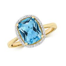 Swiss Blue Topaz & Diamond Ring Engagement Yellow Gold Certificate Appraisal
