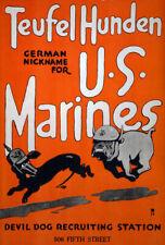 W73 Vintage WWI Teufel Hunden U.S Marines Recruitiment War Poster WW1 A1 A2 A3