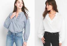 Gap Women Blouse Top XS S White Swiss Dot Blue Striped Ruffle Long Sleeve V-neck
