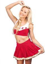 Ladies Costume Fancy Dress Up Red Cheerleader 2pc (8136)  Cheer Sz 6,8,10,12,14