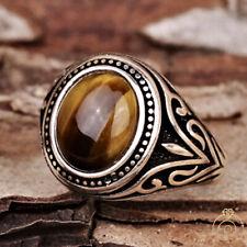 Men Brown Tiger Eye Gem Stone Vintage Ring Engraved Pinky Jewelry Fleur De Lish