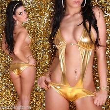 DB5 KOUCLA Costume Da Bagno Intero Monokini Oro Metallico Scollato con Strass