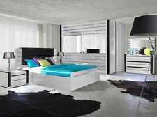 Hochglanz Schlafzimmer komplett LINN Bett, Kleiderschrank 250 cm, 2 NaKo weiß
