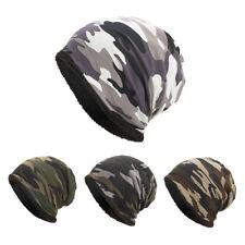 Women Men Warm Baggy Camouflage Crochet Winter Wool Ski Beanie Skull Caps Hat