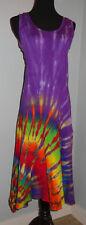 Made in USA Womens Hippie Boho Tie Dye Dyed Asymmetrical Dress S Md LG XL 2XL 3X