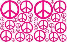 38 HOT PINK PEACE SIGN VINYL KIDS BEDROOM DECAL STICKER BABY DORM TEEN NURSERY