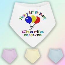Personalised 1st Birthday Embroidered Baby Bandana Dribble Bib Gift First