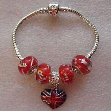 Union Jack / Royal Baby celebración europeo encanto pulsera 15cm 16cm 17cm....
