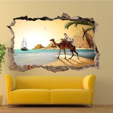 Beach Camello Egipto Pirámides 3D Pegatinas De Pared Decoración Tienda De Oficina Sala de Arte de Mural UF3