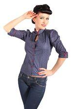 Cute asia polka dots rockabilly puffärmel cuello alto blusa camisa