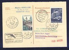 42802) AUA FF Paris - Wien 28.5.58 Österreich Antwortkarte, selten