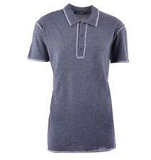 DOLCE & GABBANA Oversize Cotton Polo Shirt Dark Grey 04247