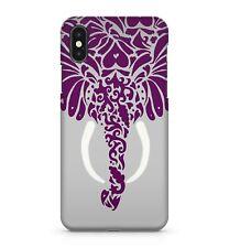 artistique Violet Coloré à motifs éléphant face blanc défenses étui de téléphone