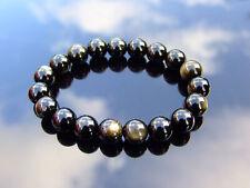 Gold Obsidian 10mm Natural Gemstone Bracelet 6-9'' Elasticated Healing Stone