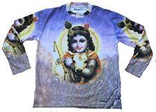 LORD KRISHNA Karma Hindu Avatar Bhakti Deity Tattoo Goa Trance Art T-Shirt L/XL