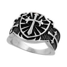 Stainless Steel St. James Cross Biker Ring