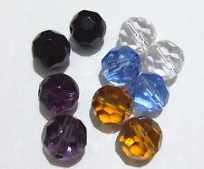 25pz perline in vetro tondo sfaccetta 10mm bijoux
